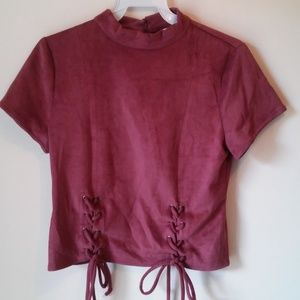 Tops - NWT Faux Suede Pink Top
